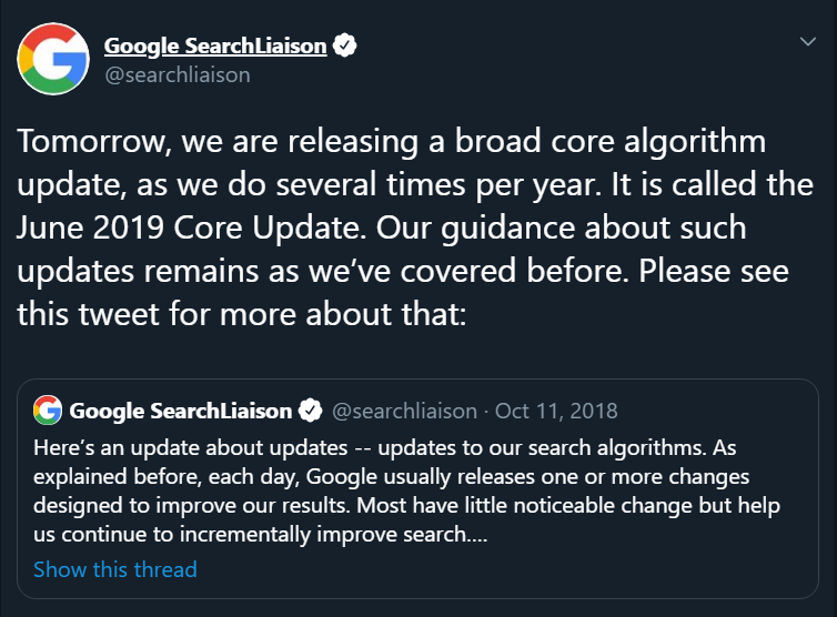 Google June 2019 core algorithm update
