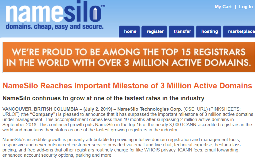 NameSilo 3 Million domains