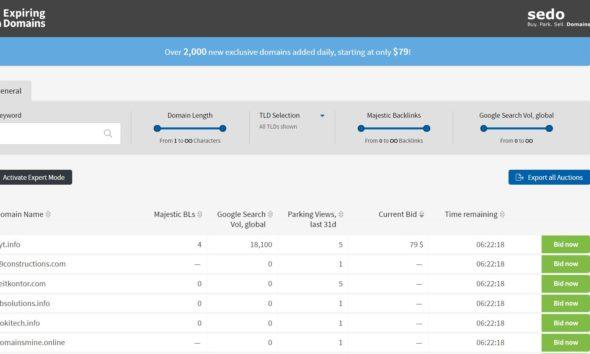 Sedo Expiring Domains platform