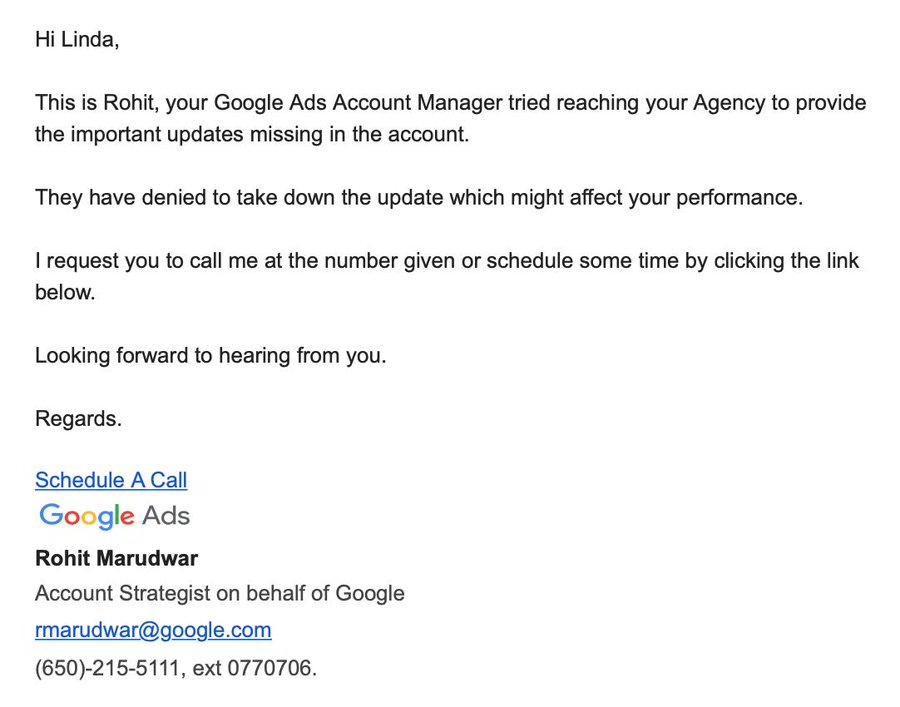 Google Ads email