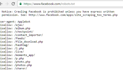 Robots.txt file of Facebook