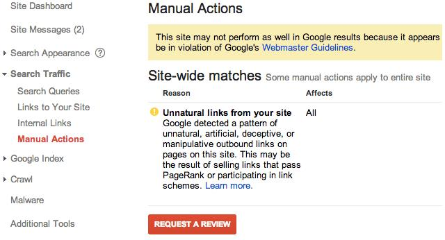 Google manual action