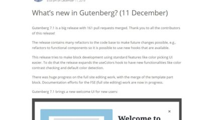 WordPress Gutenberg 7.1 update