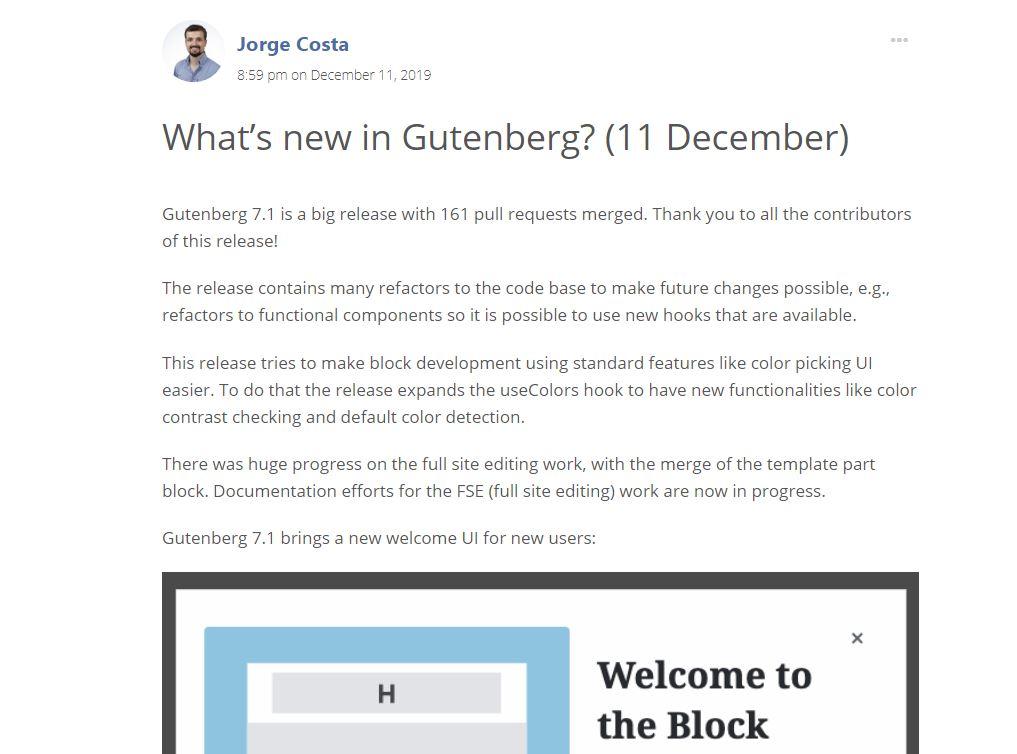 WordPress Gutenberg 7.1 update