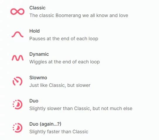 New Boomerang modes
