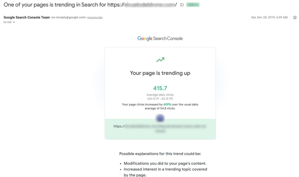 Google Search Console email