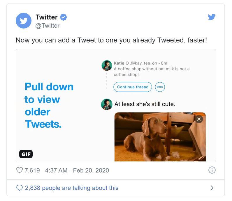 Twitter add to thread button