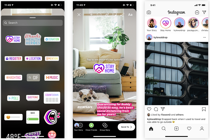 Instagram stay at home stickers