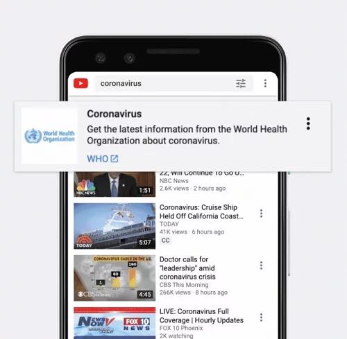 YouTube coronavirus steps